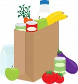 Shopping bag with healthy groceries