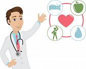 picture of clip-art staff  - Vector illustration of a young doctor who promoting healthy life - JPG