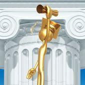 Golden Grad Holding Diploma Graduation Concept
