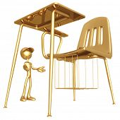 Little Golden Boy With Giant School Desk