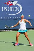 Junior tennis player Katerina Stewart from United States during semifinal match at US Open 2014