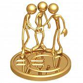 Teamwork Golden Euro Coin