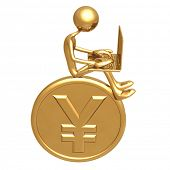 Online Banking Investment Concept Sitting On Large Golden Yen Coin