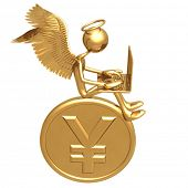 Angel Funding Investment Concept Sitting On Large Golden Yen Coin