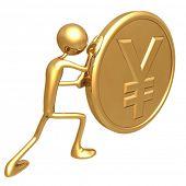 Pushing A Gold Yen Coin