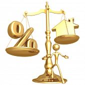 Unbalanced Realty Scale Percentage And Gold Home