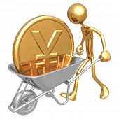 Pushing A Wheelbarrow With Large Gold Yen Coin