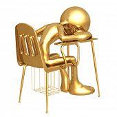 Little Golden Sleeping Student Sitting In School Desk