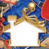 Realty Lending Problems Blank Golden Home Sign