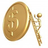 Climbing Ladder On Giant Gold Dollar Coin