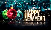 stock photo of 3d  - Happy New Year Hanging Baubles Blue Bokeh Beautiful 3D - JPG