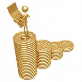 Accountant With Golden Calculator On Growth Statistics Business Graph Of Gold Euro Coins