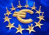 European Union Around Gold Euro Symbol
