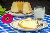 pic of pound cake  - Freshly baked bundt cake with a glass of milk - JPG