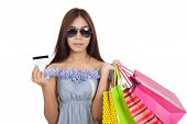Asian Woman Wear Sunglasses  Holding Shopping Bags