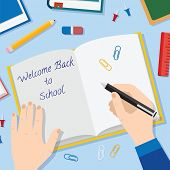 Back to School Flat Style Vector Background With Opened Textbook Pencils Pen Books and Other Station