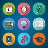 Flat Style Back to School Stationary Vector Icon Set