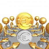 Gold Euro Coin Meeting
