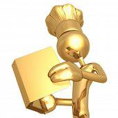 Golden Chef Baker Reading Cookbook