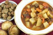 Homemade Beef Stew With Cornbread Muffins
