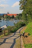 Lakeside Promenade With View To Tegernsee Castle, Germany