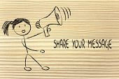 Funny Girl With Megaphone: Share Your Message