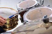 image of drum-kit  - Drum kit isolated on white background - JPG