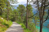 Walkway On The Lakeside Of Eibsee, Nearby Garmisch, Germany