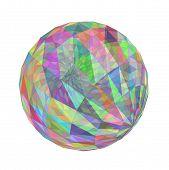 3D multicolored transparent geometric sphere