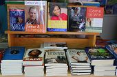 Tennis books on display at Billie Jean King Tennis Center during US Open 2014