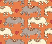Pattern With Colorful Rhinoceroses