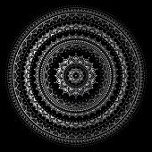 foto of indian  - Silver mandala on black background - JPG