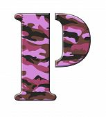 Pink/Purple Camouflage Letter P