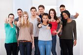 Confident College Students Gesturing Thumbs Up