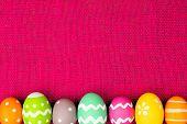 Easter egg border on pink