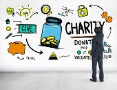 Businessman Planning Strategy Give Help Donate Charity Concept