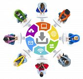 People in a Circle Using Computer with Download Concept