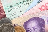 Chinese Or Yuan Banknotes Money And Coins From China's Currency With Visa For Travel Concept, Close