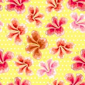 Floral Texture With Stylish Seamless Hibiscus Pattern