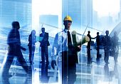 stock photo of engineer  - Engineer Architect Professional Occupation Corporate CIty Work Concept - JPG