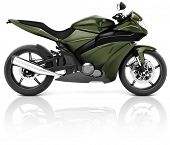 Motorcycle Motorbike Bike Riding Rider Contemporary Green Concept