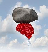 foto of organ  - Brain power concept as a red balloon shaped as a human thinking organ lifting up a heavy rock as a symbol and mental health metaphor for powerful creatve intelligence and memory - JPG