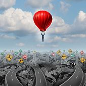 picture of persistence  - Easy way forward rise above confusion leadership concept with a businessman in a balloon flying and soaring over a complicated group of roads as a business metaphor of innovative creative thinking for success - JPG