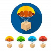 picture of parachute  - Flat parachutes icons set isolated on white background - JPG