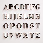 Vector latin alphabet with shadow effect