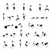 pic of backround  - Fitness Exercises icons Set on wjte backround - JPG