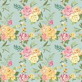 Seamless Flower Background - Shabby Roses - pattern in vector