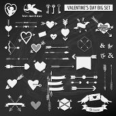 Valentine's Day Set - on chalk boarder - Hearts, Arrows, Keys, Cupids, Labels - in vector