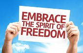 Embrace the Spirit of Freedom card with sky background