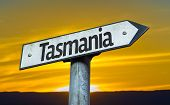 Tasmania sign with a sunset background